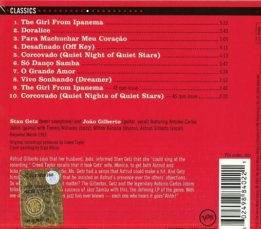 Getz/Gilberto - CD Audio di Stan Getz,Joao Gilberto - 2