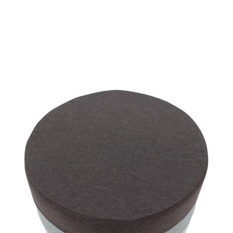 Mobili Rebecca® Poggiapiedi Puff Rotondo Piatto Tessuto Grigio Arredamento Casa Vintage Sala - 3