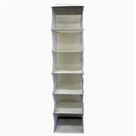 Mobili Rebecca® Portatutto Organizer 6 Ripiani Fissaggio Strappo Beige Tessuto Resistente Armadio - 3