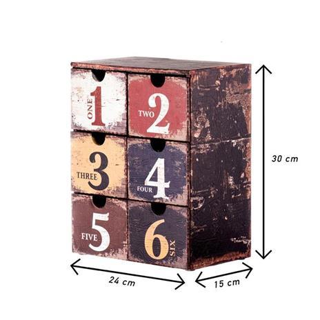 Mobili Rebecca® Cassettiera Portagioie 6 Cassetti Plastica Marrone Stile Vintage Gioielli Camera - 3