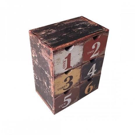 Mobili Rebecca® Cassettiera Portagioie 6 Cassetti Plastica Marrone Stile Vintage Gioielli Camera - 2