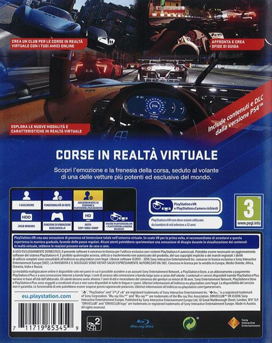 DriveClub VR - PS4 - 2