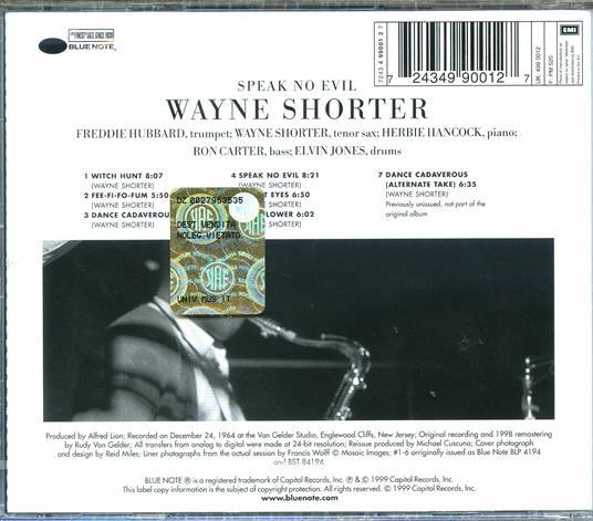 Speak No Evil (Rudy Van Gelder) - CD Audio di Wayne Shorter - 2