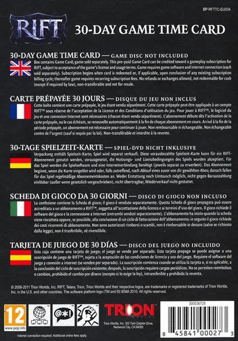 Rift Game Time Card 30gg - 2