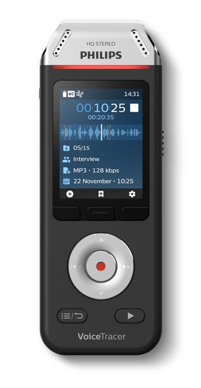 Philips Voice Tracer DVT2110/00 dittafono Flash card Nero, Cromo