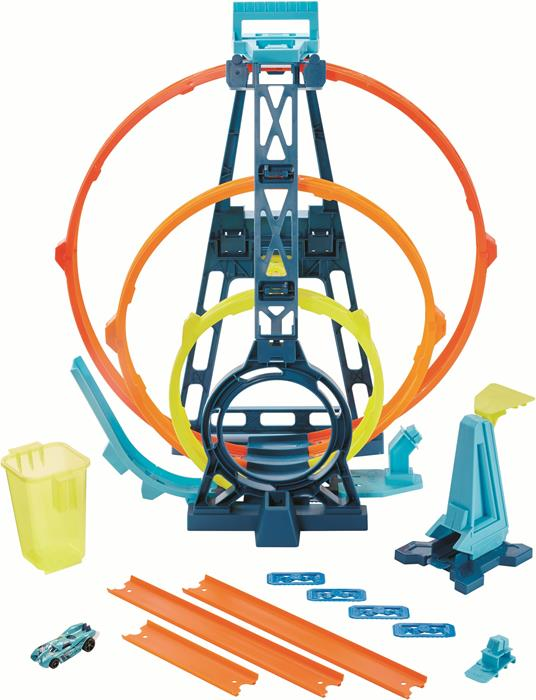 Hot Wheels Track Builder, Playset Pista Triple Loop, Giocattolo per Bambini 4+ Anni. Mattel (GLC96)