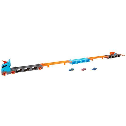 Hot Wheels 2in1 Camion Trasportatore e Pista con 3 Macchinine,Giocattolo per Bambini 4+Anni. Mattel (GVG37) - 4