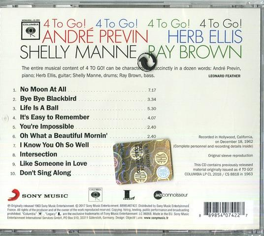 4 to Go! - CD Audio di Ray Brown,André Previn,Shelly Manne,Herb Ellis - 2