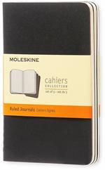 Quaderno Cahier Journal Moleskine pocket a righe nero. Black. Set da 3