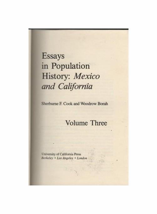 3: Essays in Population History: Mexico and California - copertina