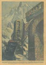 Copertina La Domenica del Corriere. Un treno affollatissimo della linea Chamonix. Mer de Glace precipita in un viadotto: 21 passeggeri morti