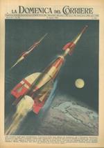 Copertina La Domenica del Corriere. Il presidente Eisenhower approva progetto relativo alla costruzione e al lancio di satelliti artificiali che ruoteranno intorno al nostro pianeta a un'altezza di circa 400 km