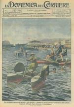 Copertina La Domenica del Corriere. I nuovissimi apparecchi sportivi (gli idrocicli) formano la distrazione dei bagnanti di Capri e Sorrento