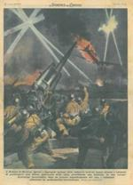 Copertina La Domenica del Corriere. A Monaco di Baviera, operai e impiegati italiani che partecipavano alla difesa della città, hanno abbattuto un quadrimotore statunitense