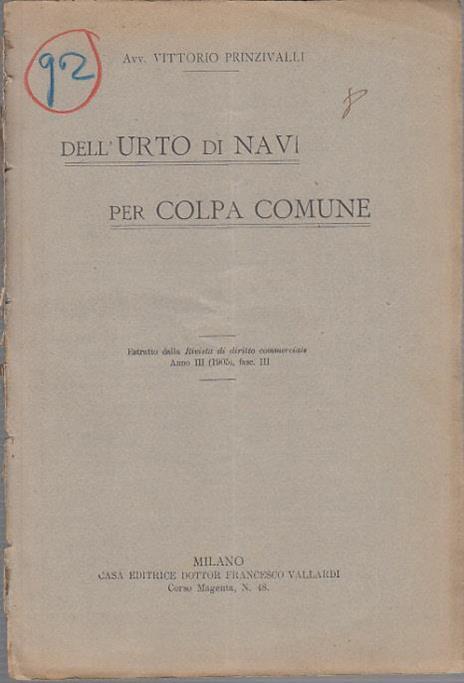 Dell'urto di navi per colpa comune - Vittorio Prinzivalli - 2