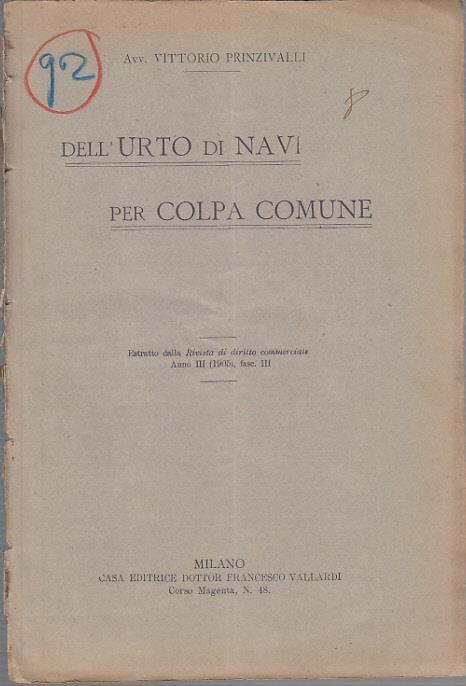 Dell'urto di navi per colpa comune - Vittorio Prinzivalli - copertina