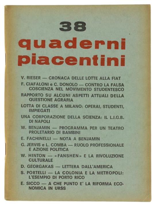 Quaderni Piacentini. N. 38. Luglio 1969 - Piergiorgio Bellocchio - Libro Usato - UTEP - | IBS