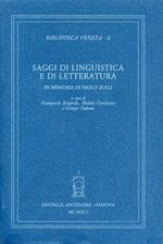Saggi di linguistica e letteratura in memoria di Paolo Zolli