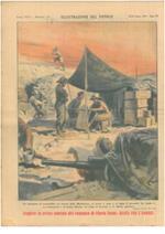 """Un momento di tranquillità sul fronte della Marmarica si scrive a casa e si legge il giornale. La tenda è """"a scomparsa"""" : al primo allarme, un colpo al bastone e il rilievo sparisce"""