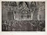 Il Il Giubileo Papale a Roma / Leone XIII riceve i pellegrini francesi nella Sala Ducale. Paolocci Dante dis. - Cantagalli inc