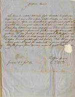 Lettera autografa firmata, su una facciata, datata: Genova li 8 gennaio 1865. Indirizzata. data la provenienza. a Piero Puccioni. Carissimo amico, la terribile malattia della mia figlia Enrichetta, la quale purtroppo non so come andrà a finire, giacché