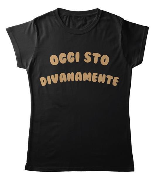 T-Shirt Nera Donna Tee168 Tg M Oggi Sto Divanamente