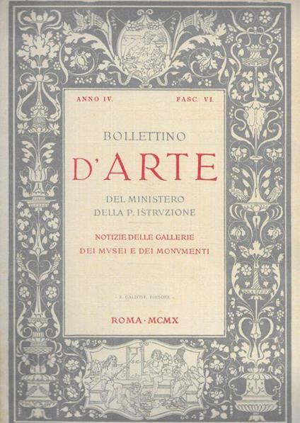 Bollettino d'arte del Ministero della P. Istruzione - copertina