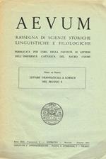 Aevum. Rassegna Di Scienze Storiche Linguistiche E Filologiche Anno Xxxi Fascicolo 3 Estratto. Letture Grammaticali A Lorsch Nel Secolo X