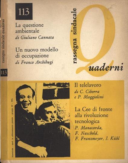 Quaderni di Rassegna Sindacale Anno XXII Vol. 113. Rivista della Cgil - copertina