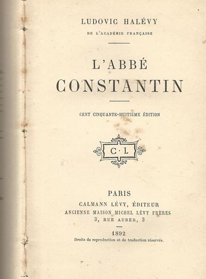 L' abbé Constantin - Ludovic Halévy - copertina