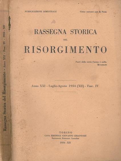 Rassegna Storica del Risorgimento 1934 di:  - copertina