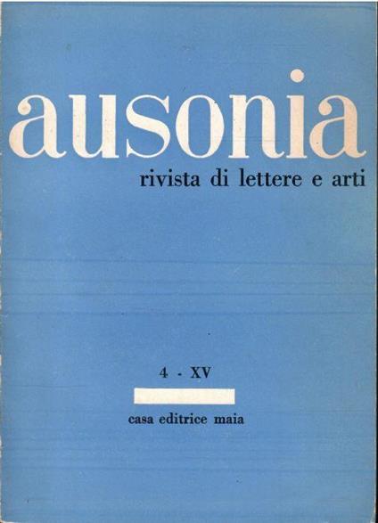 Ausonia Rivista di Lettere e Arti N. 4-Xv - copertina