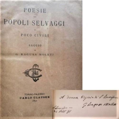 Poesie dei popoli selvaggi o poco civili - Girolamo Ragusa Moleti - copertina
