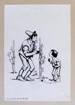 Tavola originale in china di NICO ROSSO - IL GIARDINIERE - 1940 ca. - Firmata
