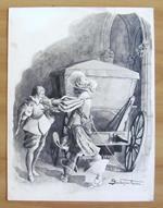 Tavola originale di SARDOFONTANA noto illustratore Salgariano 1902 - Firmata