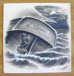 Tavola originale di SARDOFONTANA noto illustratore Salgariano - primi '900 - Firmata