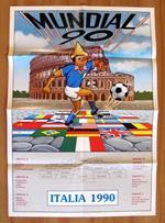 Mundial 90 - Manifesto Con Pinocchio Per Italia 1990 Con Squadre E Gruppi - 48X70
