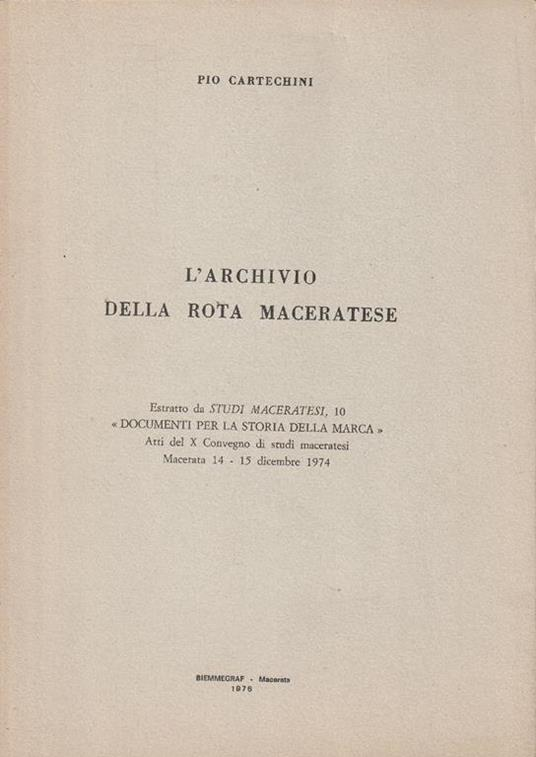 L' archivio della rota maceratese - copertina