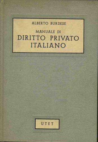 Manuale di diritto privato italiano - Alberto Burdese - copertina