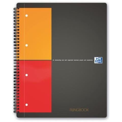 Oxford Filing Book quaderno per scrivere Nero, Arancione, Rosso A4 80 fogli