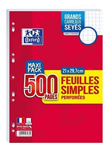 Oxford Scolaire fogli semplici perforati A4,21x 29,7cm, 90g, a quadretti grandi, 500pagine