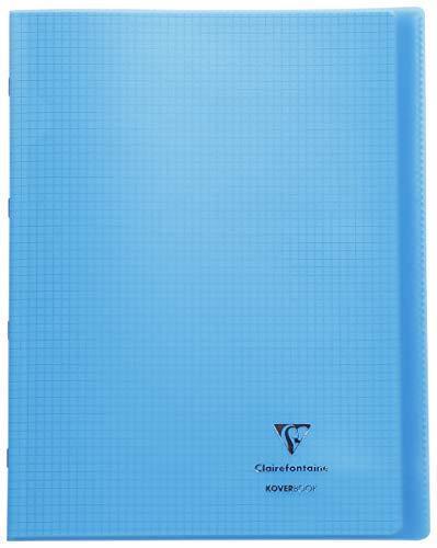 Clairefontaine 981602C Quaderno rilegato Koverbook 24 x 32 cm, 96 pagine a quadretti piccoli, copertina in polipropilene trasparente, colore: Blu