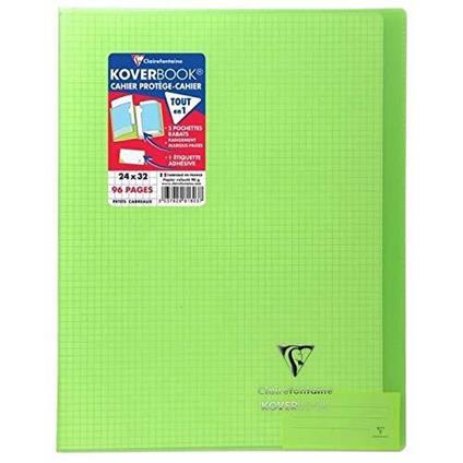 Clairefontaine 981603C Quaderno rilegato Koverbook 24 x 32 cm, 96 pagine a quadretti piccoli, copertina in polipropilene trasparente verde