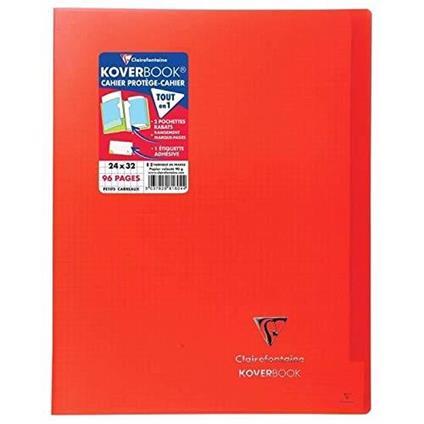 Clairefontaine 981604C Quaderno rilegato Koverbook 24 x 32 cm, 96 pagine a quadretti piccoli, copertina in polipropilene trasparente, colore: Rosso