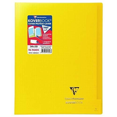 Clairefontaine 981606C Quaderno rilegato Koverbook 24 x 32 cm, 96 pagine a quadretti piccoli, copertina in polipropilene trasparente, giallo