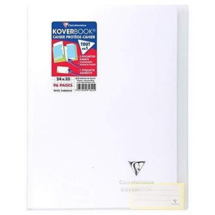 Clairefontaine 981620C Quaderno rilegato Koverbook 24 x 32 cm, 96 pagine a quadretti piccoli, copertina in polipropilene trasparente, incolore