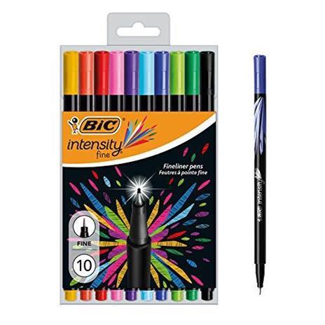 BIC 953034Intensity Set di 10penne punta in feltro di inchiostro a base di scrittura 0,4mm colori assortiti