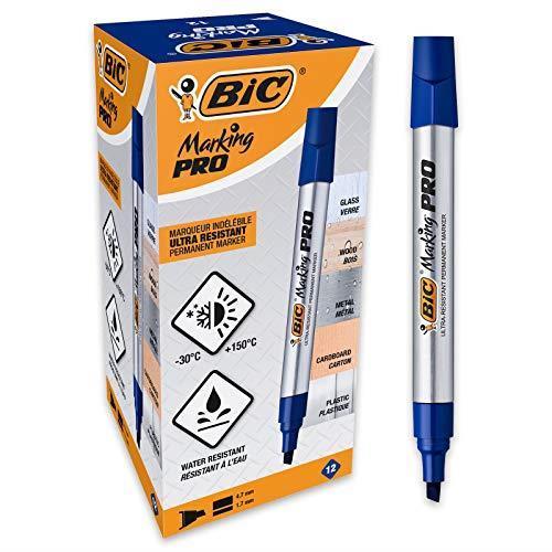 BIC Marking Pro Indelebili Con Punta A Scalpello  Blu, Confezione Da 12