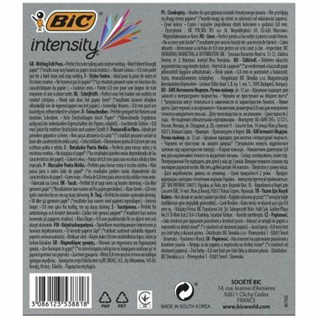 BIC 964893 marcatore Medio Nero, Blu, Verde, Grigio, Azzurro, Verde chiaro, Arancione, Rosa, Porpora, Rosso 12 pezzo(i) - 5