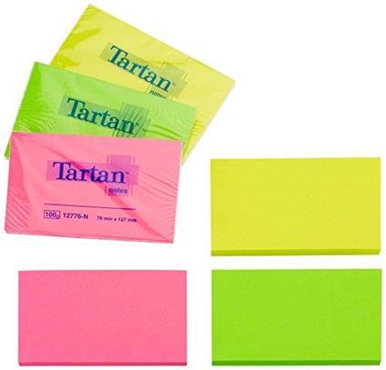 Tartan Notes Haftnotizen, 127 x 76 mm, Neon, 100 Blatt/Block